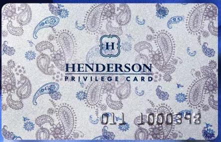 Внешний вид скидочной карты Henderson