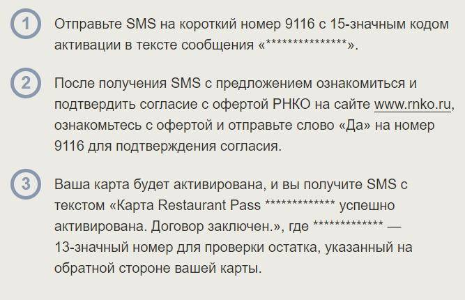 Активация через СМС