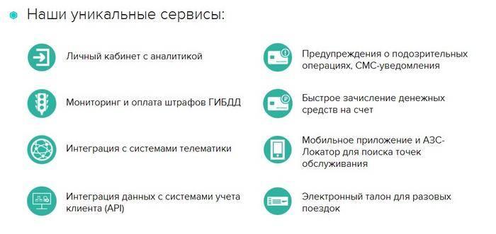 Сервисы карты Газпром
